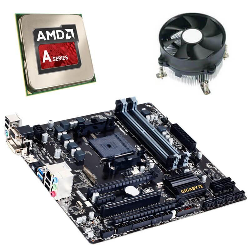 Kit Placi de baza Gigabyte GA-F2A88XM-D3H, AMD Quad Core A10-5800K, Cooler