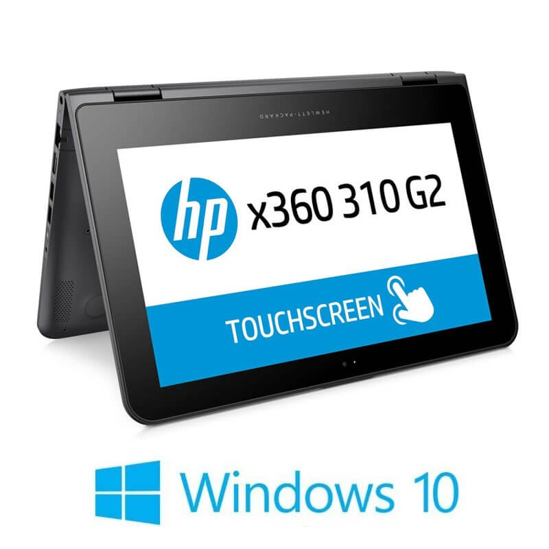 Laptopuri Touchscreen HP x360 310 G2, Quad Core N3700, SSD, IPS, Webcam, Win 10 Home